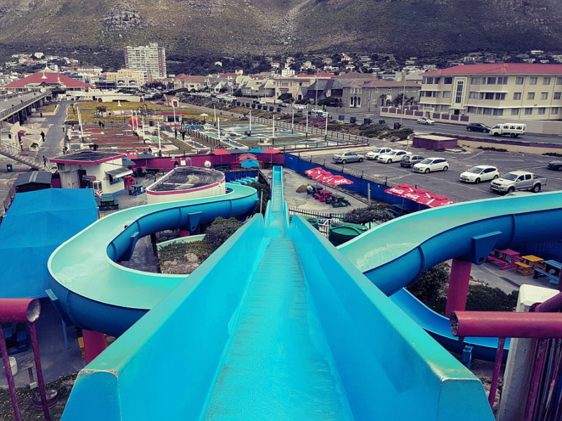 Cape Town, child-friendly, things to do, parenting, kids activities, agaaain, outings, childhood. Muizenberg, waterslide, slide, water park, southern peninsula